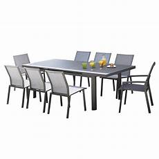 table de jardin bora rectangulaire gris 8 personnes