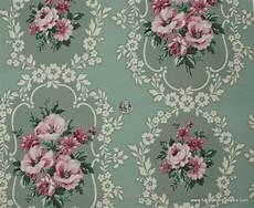 1940 S Vintage Wallpaper Pink Floral On Green Background