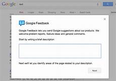 google updates the search quot send feedback quot form