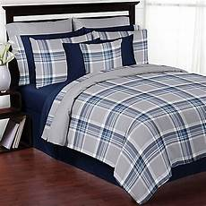 sweet jojo designs plaid bedding collection in navy grey