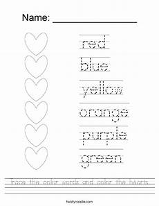 colors tracing worksheets 12820 trace the color words and color the hearts worksheet twisty noodle