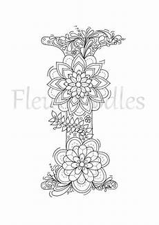 Ausmalbilder Buchstaben I Coloring Page Floral Letters Alphabet I By