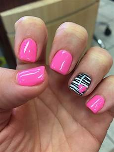 gel mani shellac zebra pink valentine nails polish
