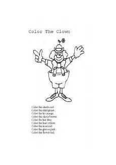 color the clown esl worksheet by hcsjmlpa