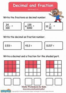 fraction worksheets 7 4129 decimal and fraction maths worksheets for mocomi