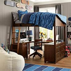 Bedroom Ideas For Guys With Big Rooms by Mixing Work With Pleasure Loft Beds With Desks Underneath