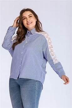 womens blue blouse plus size autumn striped lace hollow out blouse big size