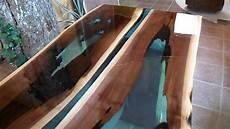 bois et resine epoxy table en noyer rivi 232 re table rivi 232 re