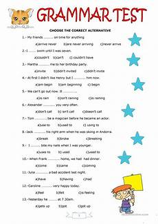 grammar test worksheet free esl printable worksheets