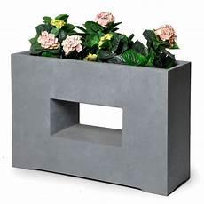 bac à fleurs bac 224 fleurs design fibre de terre l75 h53 cm gris l75 x