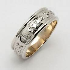 14k white gold men s claddagh wedding ring 7mm