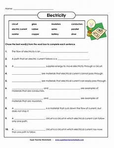 electricity super teacher worksheets