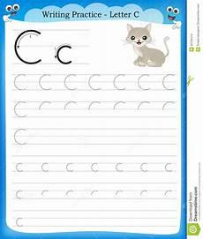 kindergarten handwriting worksheets letter c 24056 writing practice letter c stock vector illustration of flashcard 50726414