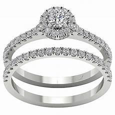 halo engagement bridal ring band 1 01 ct real diamond