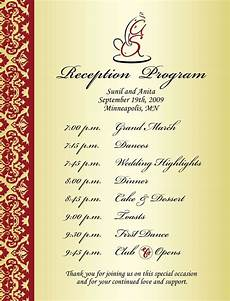 wedding reception program sle weddings events puram family tolani etc wedding reception