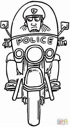 motorcycle policeman coloring page free printable