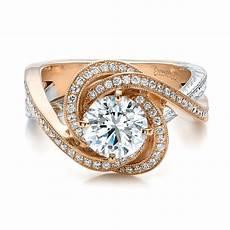 custom rose gold and platinum diamond engagement ring
