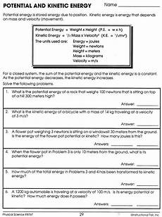 potential and kinetic energy worksheet answers kinetic