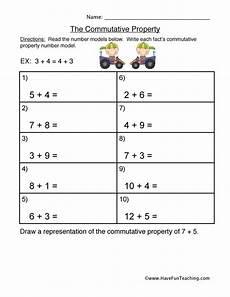 commutative property addition worksheet