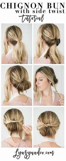 simple hair tutorial chignon bun with twist lynzy co