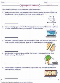 word problem worksheet pythagorean theorem pythagorean theorem worksheets