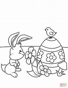 easter bunny smelling flower coloring page free