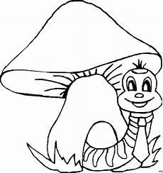 raupe mit pilz ausmalbild malvorlage comics
