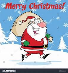 merry christmas greeting santa claus running stock illustration 157448747