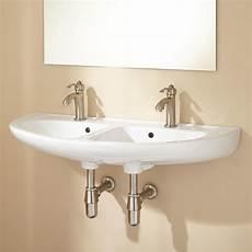 cassin double bowl wall bathroom sink