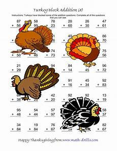 turkey block addition two digit plus two digit a thanksgiving math worksheet