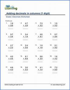 7 digits addition with decimals grade 3 math worksheet adding 1 digit decimals in columns