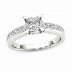 1 ct t w princess cut diamond square frame engagement ring in 14k white gold engagement