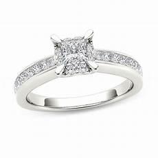 1 ct t w princess cut diamond square frame engagement