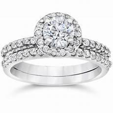 1 1 10ct diamond pave halo solitaire engagement wedding