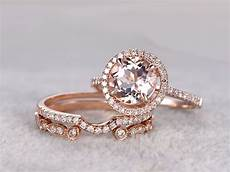 3pcs morganite rose gold wedding set diamond eternity ring 8mm round antique art deco stacking