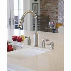 Lowes Kitchen Plumbing Fixtures by Shop Moen Aberdeen Stainless 2 Handle Pull Kitchen