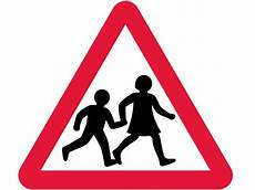 iconic road sign of two schoolchildren crossing
