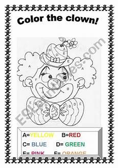 color the clown esl worksheet by jupink