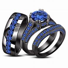 sapphire 18k black gold 925 silver engagement wedding band bride groom ring set black gold