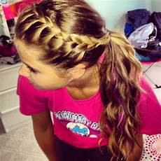 easy hairstyle braid your bangs and pull back into ponytail nails hair makeup