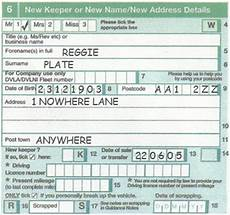 v5c section 6 new keeper vehicle registration transfer documents number plates for less