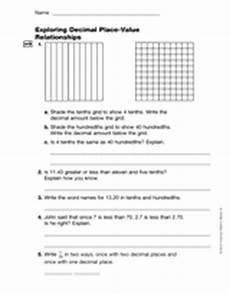 place value relationships 4th grade worksheets 5526 exploring decimal place value relationships gr 4 printable 4th grade teachervision