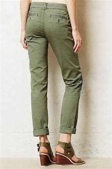 anthropologie womens chino army green khakis leg