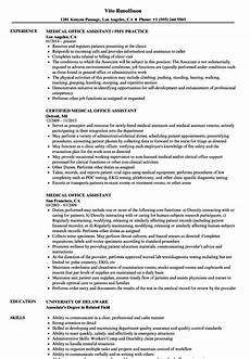 medical office assistant resume sles velvet