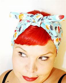 vintage inspired head scarf cherries retro rockabilly 1940s bandana hairstyles hair ties