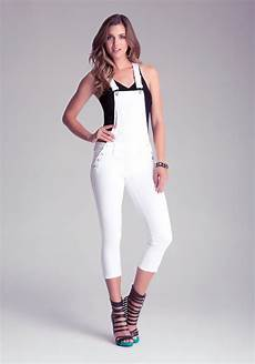 bebe cropped white overalls lyst