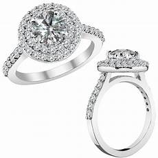 3 carat g h round diamond engagement wedding double halo
