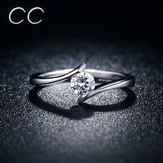 simple design engagement ring white clear zirconia classic wedding rings for marriage