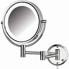 jerdon hl88cl 8 5 quot led lighted wall makeup mirror with 8x magnification chrome finish