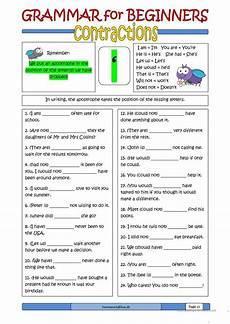 grammar for beginners contractions worksheet free esl printable worksheets made by teachers